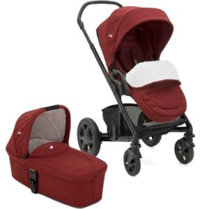joie ChromeDLX Cranberry carrycot,footmuff1