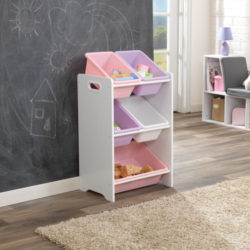 15473Kidkraft 5 Bin Storage Unit - Pastel & White