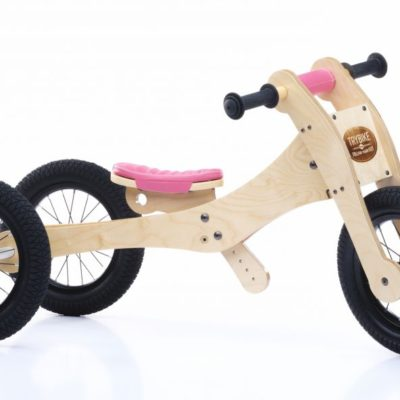 Trybike Natural Wood 4 In 1 Balance Bike Seat and Safety Pad - Pink