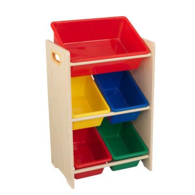 Kidkraft 5 Bin Storage Unit - Primary & Natural1