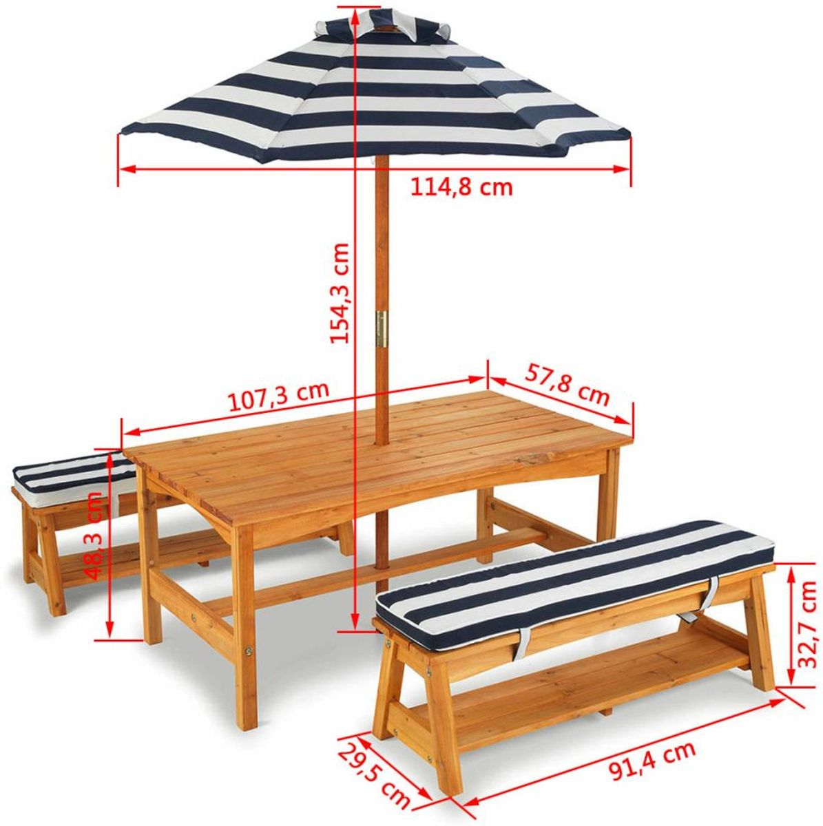 Kidkraft outdoor table bench set with cushions umbrella navy white stripes3