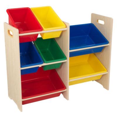 Kidkraft Primary 7 Bin Storage Unit - Natural1