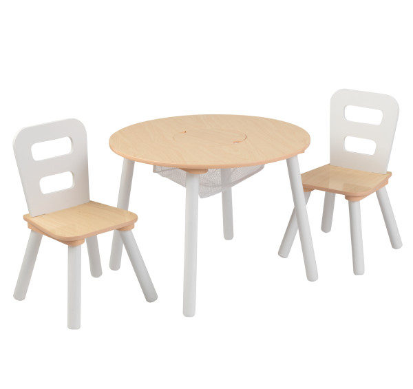 Kidkraft Round Storage Table 2 Chair Set - Natural White