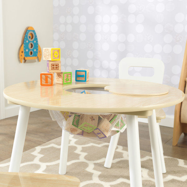Kidkraft Round Storage Table 2 Chair Set - Natural & White.4