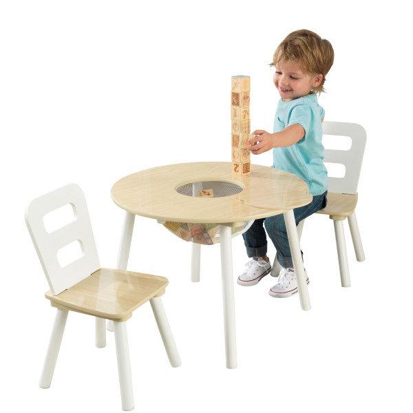 Kidkraft Round Storage Table 2 Chair Set - Natural & White1