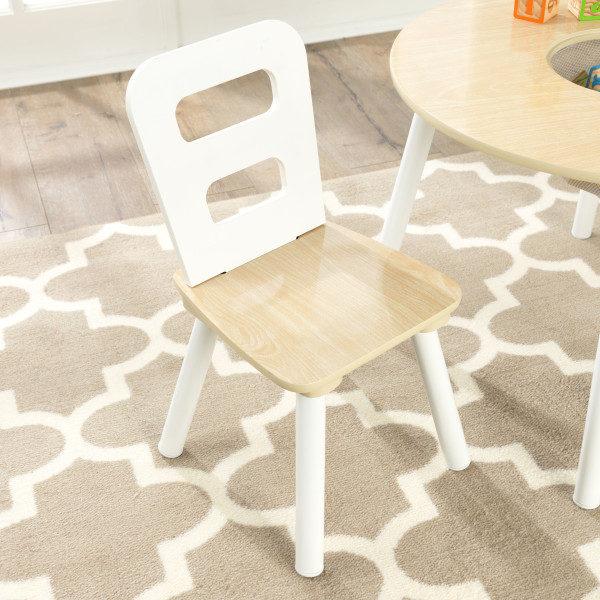 Kidkraft Round Storage Table 2 Chair Set - Natural White3