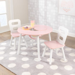 Kidkraft Round Table and 2 Chairs Set - Pink and White