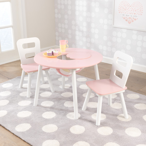 Pink Round Table.Kidkraft Round Table And 2 Chairs Set Pink And White