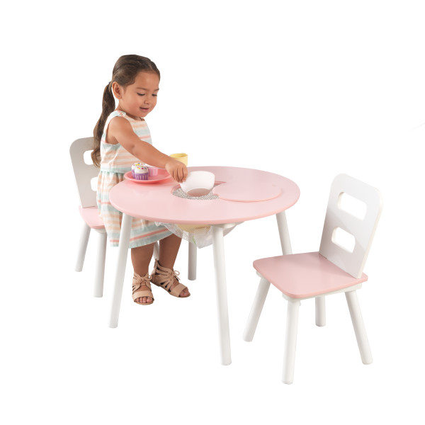 Kidkraft Round Table and 2 Chairs Set - Pink and White1