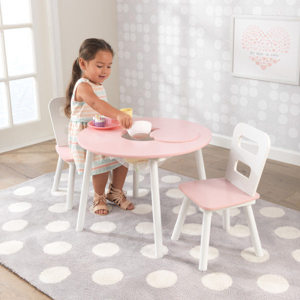 Kidkraft Round Table and 2 Chairs Set - Pink and White2