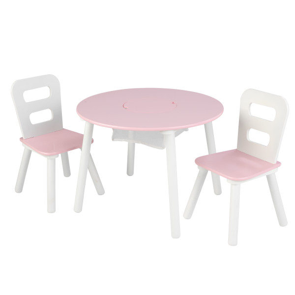 Kidkraft Round Table and 2 Chairs Set - Pink and White3