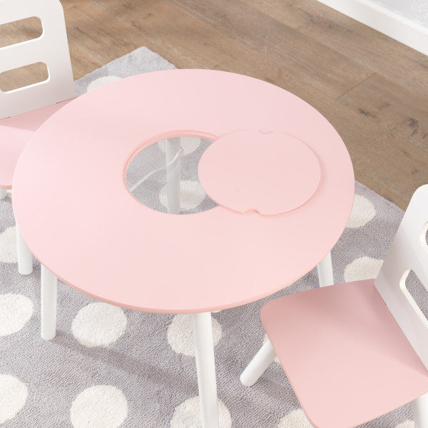 Kidkraft Round Table and 2 Chairs Set - Pink and White5