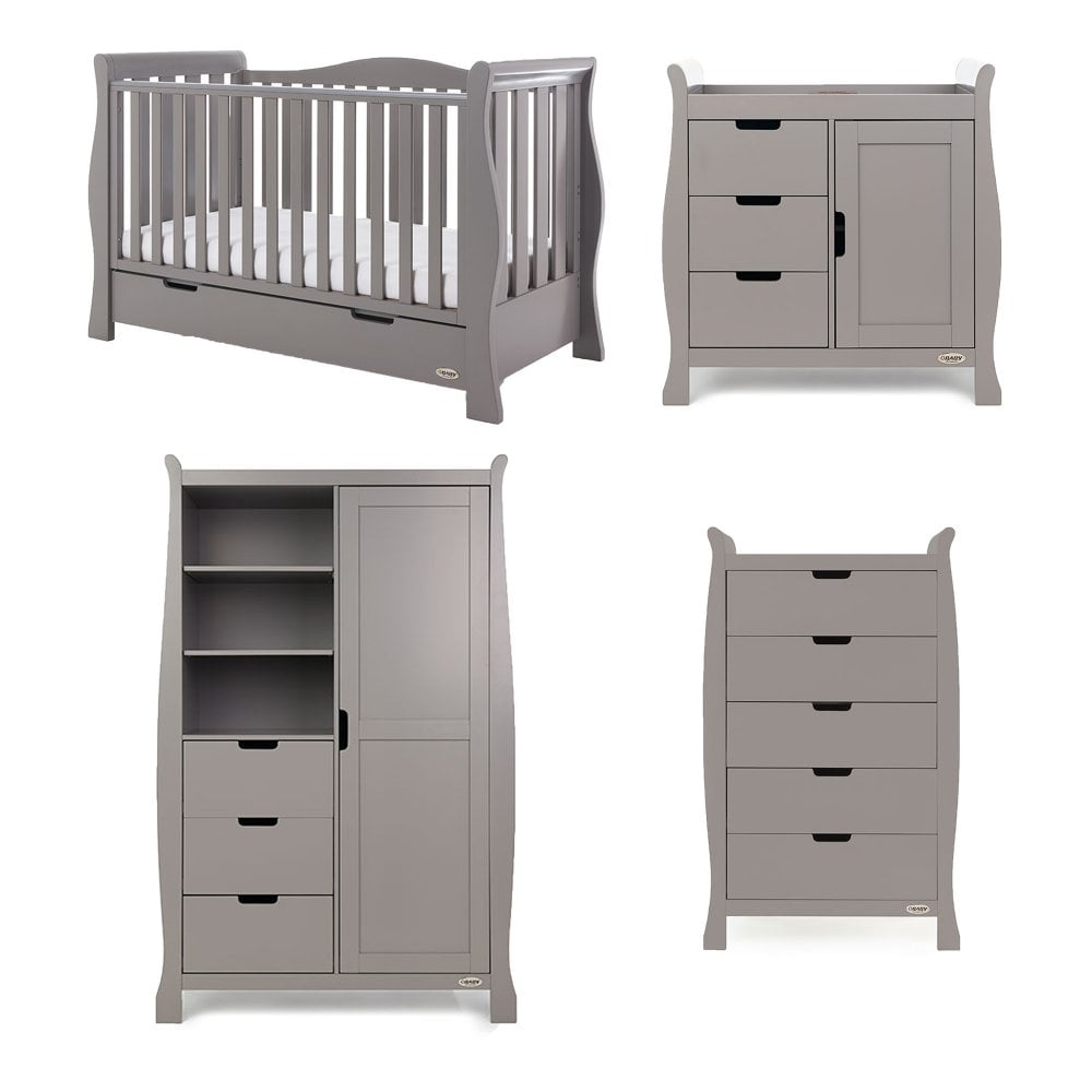 9fa59241c6b0 Obaby Stamford Luxe 4 Piece Room Set - Taupe Grey - Smart Kid Store