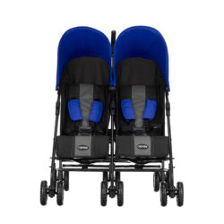 Obaby Apollo Twin Stroller - BlackGrey with Blue Hoods 2