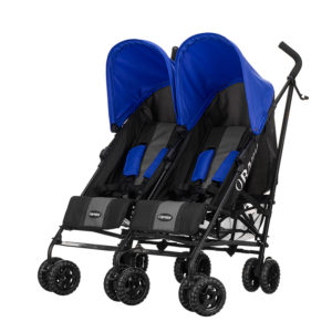Obaby Apollo Twin Stroller - BlackGrey with Blue Hoods