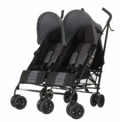 Obaby Apollo Twin Stroller - BlackGrey with Grey Hoods