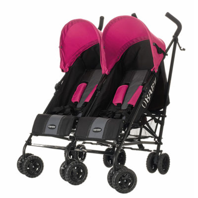 Obaby Apollo Twin Stroller - BlackGrey with Pink Hoods