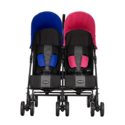 Obaby Apollo Twin Stroller - BlackGrey with PinkBlue Hoods 2
