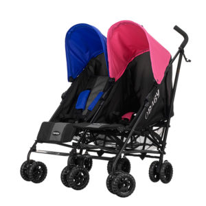 Obaby Apollo Twin Stroller - BlackGrey with PinkBlue Hoods