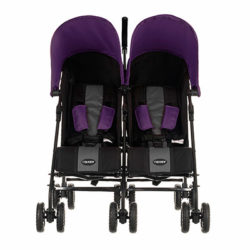 Obaby Apollo Twin Stroller - BlackGrey with Purple Hoods 2