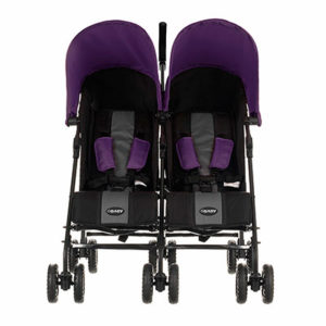 Obaby Apollo Twin Stroller - BlackGrey with Purple Hoods 2