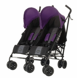 Obaby Apollo Twin Stroller - BlackGrey with Purple Hoods
