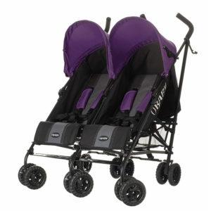 Obaby Apollo Twin Stroller - BlackGrey with Purple Hoods