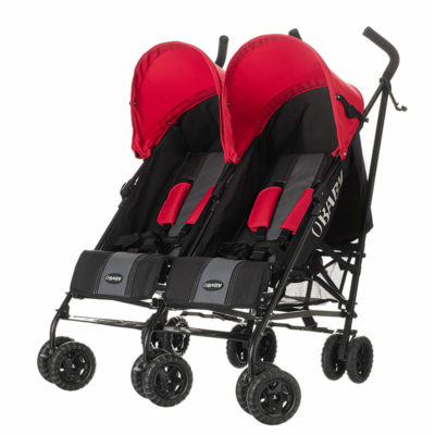 Obaby Apollo Twin Stroller - BlackGrey with Red Hoods