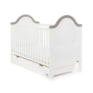 Obaby B is for Bear Cot Bed and Underdrawer - White with Grey Trim
