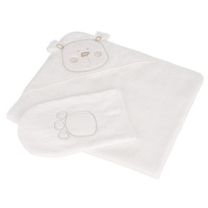 Obaby B is for Bear Hooded Towel Set - White