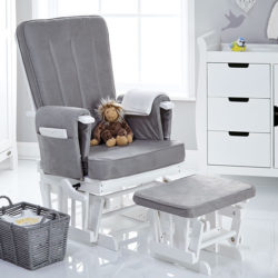 Obaby Deluxe Reclining Glider Chair and Stool - White with Grey Cushions 2