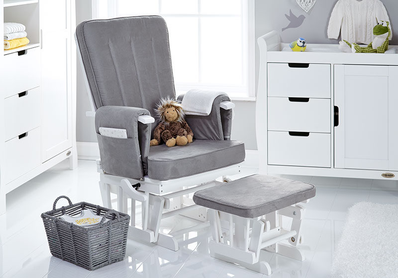 Phenomenal Obaby Deluxe Reclining Glider Chair And Stool White With Grey Cushions Ibusinesslaw Wood Chair Design Ideas Ibusinesslaworg