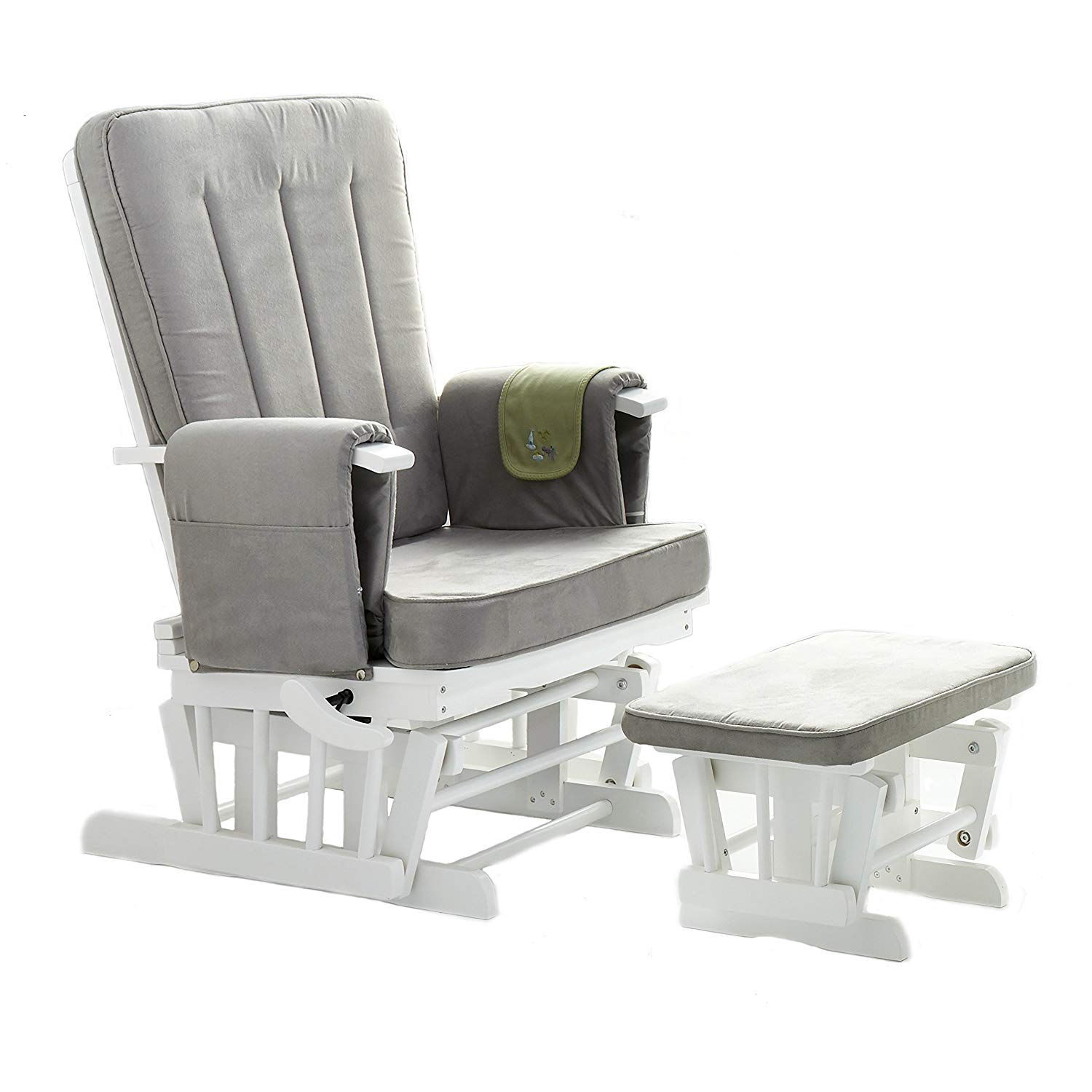 Obaby Deluxe Reclining Glider Chair And Stool White With Grey Cushions
