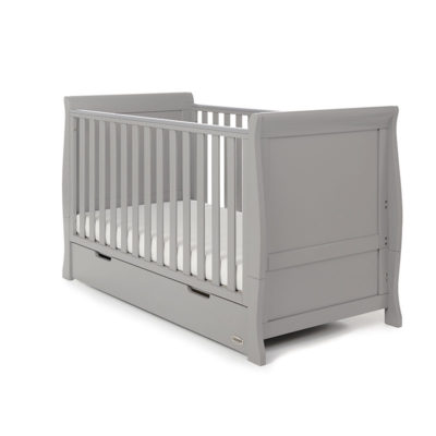 Obaby Stamford Classic Sleigh Cot Bed - Warm Grey