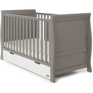 Obaby Stamford Classic Sleigh Cot Bed and Drawer - Taupe Grey with White