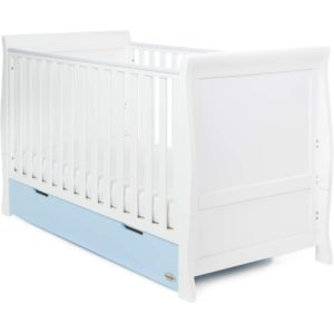Obaby Stamford Classic Sleigh Cot Bed and Drawer - White with Bonbon Blue
