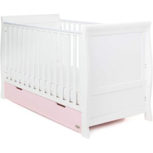 Obaby Stamford Classic Sleigh Cot Bed and Drawer - White with Eton Mess