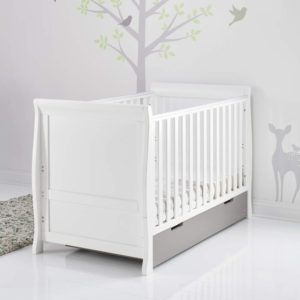 Obaby Stamford Classic Sleigh Cot Bed and Drawer - White with Taupe Grey 3