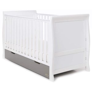 Obaby Stamford Classic Sleigh Cot Bed and Drawer - White with Taupe Grey