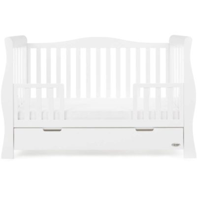 Obaby Stamford Luxe Sleigh Cot Bed - White 5