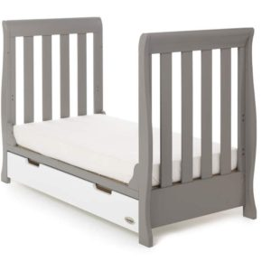Obaby Stamford Mini Cot Bed - Taupe Grey with White 2