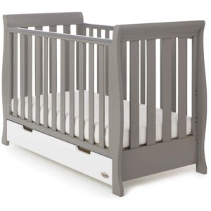 Obaby Stamford Mini Cot Bed - Taupe Grey with White