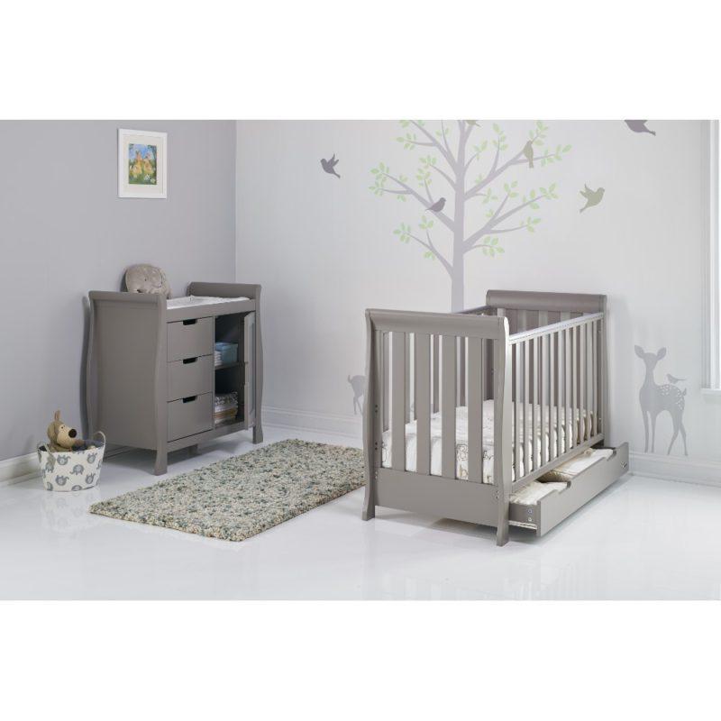 Obaby Stamford Mini Sleigh 2 Piece Room Set - Taupe Grey 2