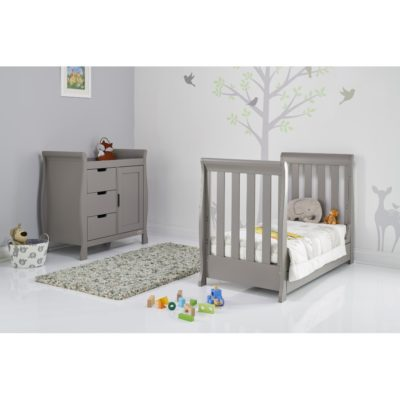 Obaby Stamford Mini Sleigh 2 Piece Room Set - Taupe Grey 3