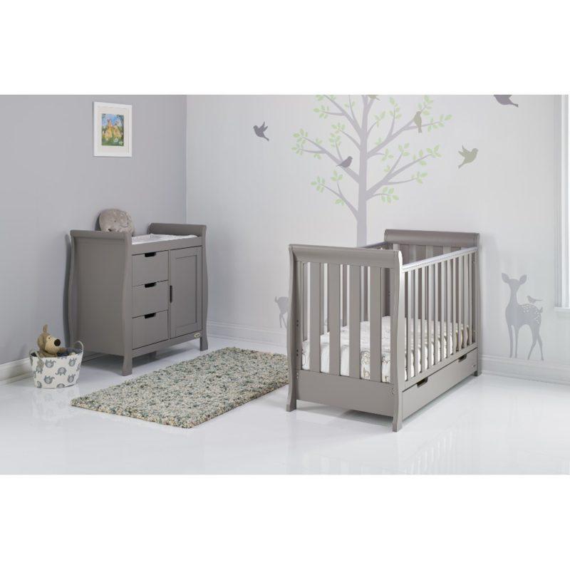 Obaby Stamford Mini Sleigh 2 Piece Room Set - Taupe Grey