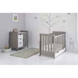 Obaby Stamford Mini Sleigh 2 Piece Room Set - Taupe Grey with White