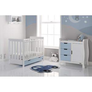 Obaby Stamford Mini Sleigh 2 Piece Room Set - White with Bonbon Blue