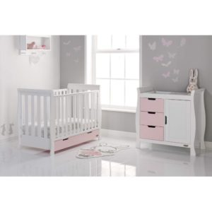 Obaby Stamford Mini Sleigh 2 Piece Room Set - White with Eton Mess