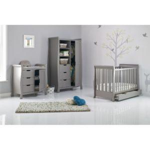 Obaby Stamford Mini Sleigh 3 Piece Room Set - Taupe Grey 2