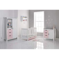 Obaby Stamford Mini Sleigh 3 Piece Room Set - White with Eton Mess